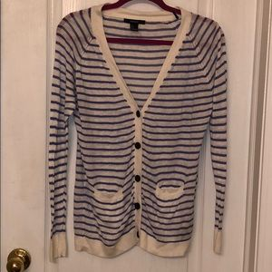Forever 21 Blue and White Striped Cardigan